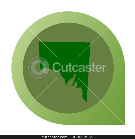 Isolated Southern Australia map marker pin stock photo, Isolated Southern Australia map marker pin in flat web design style. by Martin Crowdy