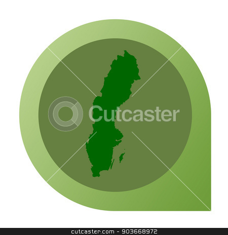 Isolated Sweden map marker pin stock photo, Isolated Sweden map marker pin in flat web design style. by Martin Crowdy