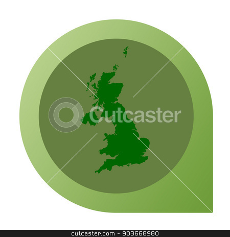Isolated United Kingdom map marker pin stock photo, Isolated United Kingdom map marker pin in flat web design style. by Martin Crowdy
