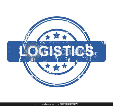 Logistics business concept stamp stock photo, Logistics business concept stamp with stars isolated on a white background. by Martin Crowdy