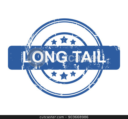 Long Tail business concept stamp stock photo, Long Tail business concept stamp with stars isolated on a white background. by Martin Crowdy