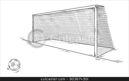 football ball and goal stock vector clipart, vector of the football ball and goal, sketch by muuraa