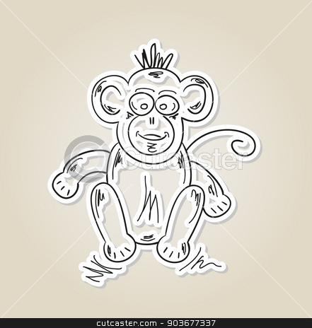 ape, sketch stock vector clipart, sketch of the ape on brown gradient background, vector by muuraa