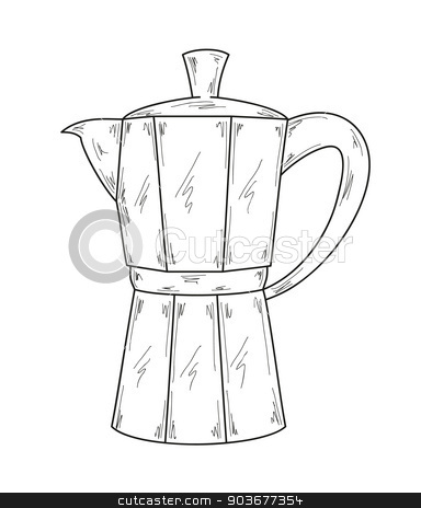 coffee maker stock vector clipart, sketch of the coffee maker, vector, isolated by muuraa