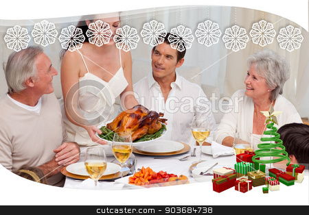 Woman showing turkey to her family for christmas dinner stock photo, Woman showing turkey to her family for Christmas dinner against snowflake frame by Wavebreak Media