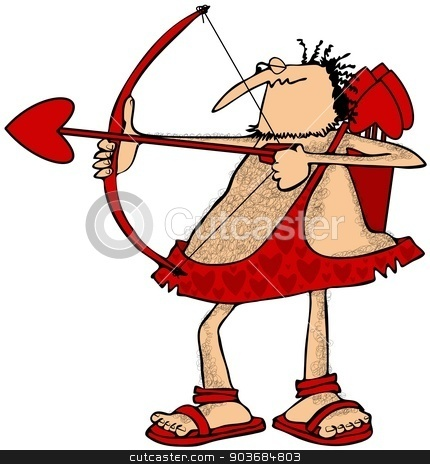 Cupid aiming an arrow stock photo, This illustration depicts a hairy Cupid drawing back on his red bow and aiming a love arrow. by Dennis Cox