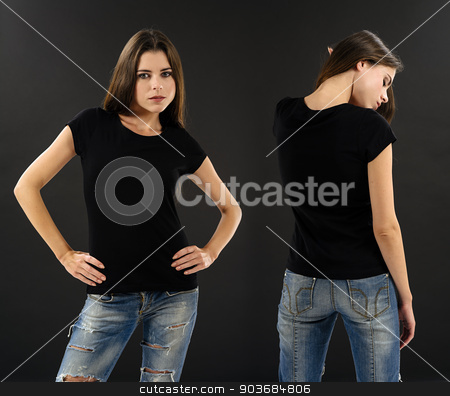 Woman with blank black shirt over black background stock photo, Photo of a beautiful brunette woman with blank black shirt over black background. Ready for your design or artwork. by © Ron Sumners