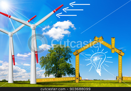 Ecologic House - Wind Energy Concept stock photo, Wooden yellow meter tool forming a ecologic house with wind energy turbine power station by catalby