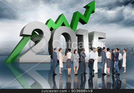 Composite image of many business people standing in a line stock photo, Many business people standing in a line against room with large window looking on city by Wavebreak Media