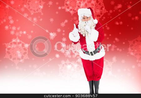 Composite image of santa claus keeping a secret  stock photo, Santa claus keeping a secret  against digitally generated delicate snowflake design by Wavebreak Media