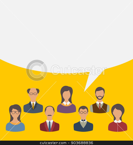 Unity of business people team with speech bubble, modern flat ic stock vector clipart, Illustration unity of business people team with speech bubble, modern flat icons - vector by -=Mad Dog=-