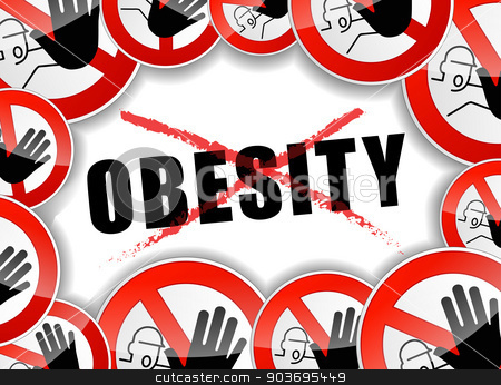 no obesity stock vector clipart, illustration of abstract design concept for no obesity by Nickylarson974