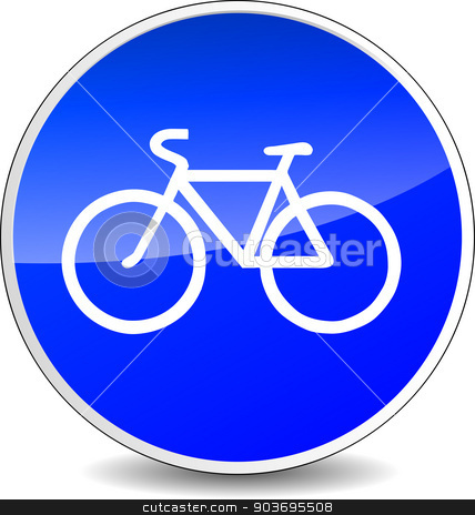 bicycle blue sign stock vector clipart, illustration of circle blue icon for bicycle by Nickylarson974