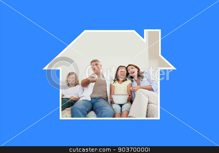 Composite image of family on the sofa watching tv stock photo, Family on the sofa watching tv against blue vignette by Wavebreak Media