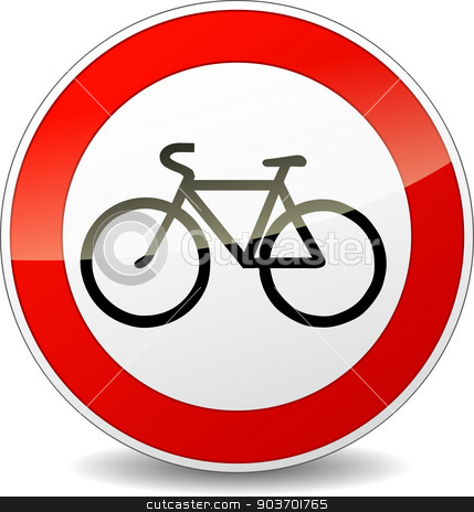 bicycle sign stock vector clipart, Illustration of bicycle round sign on white background by Nickylarson974