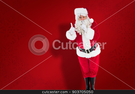 Composite image of santa claus keeping a secret  stock photo, Santa claus keeping a secret  against red snowflake background by Wavebreak Media