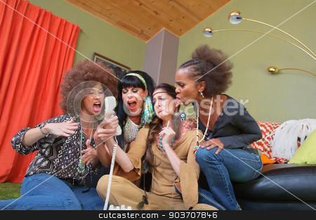 1960s Drunk Teleconference stock photo, Group of four women in 1960s clothing yelling into telephone by Scott Griessel
