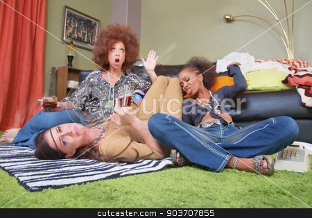 Pitiful Drunk Woman with Friends stock photo, Drunk woman with smoking friends looking for pity by Scott Griessel