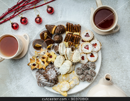 Christmas cookies and fresh tea stock photo, Christmas cookies and fresh tea, showy, plate and background by Peteer