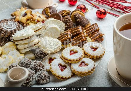 Christmas cookies and fresh tea stock photo, Christmas cookies and fresh tea, showy, plate and background by Peteer
