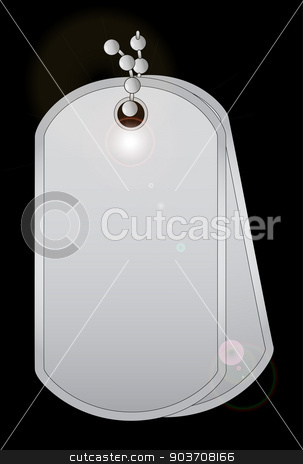 Dog Tags stock vector clipart, a pair of military style dog tags with chain. by Kotto