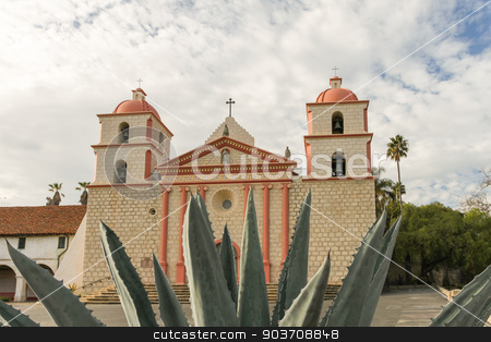 Santa Barbara Mission stock photo, The Spanish historic Santa Barbara Mission in California. by Henrik Lehnerer