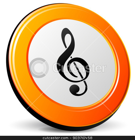 Vector music icon stock vector clipart, Vector illustration of music orange icon on white background by Nickylarson974