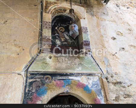 Wall painting  - Orthodox church stock photo, Wall painting outside of an Orthodox church by ANTONIOS KARVELAS