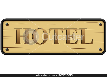 Vector hotel sign stock vector clipart, Vector illustration of hotel rustic wood sign on white background by Nickylarson974