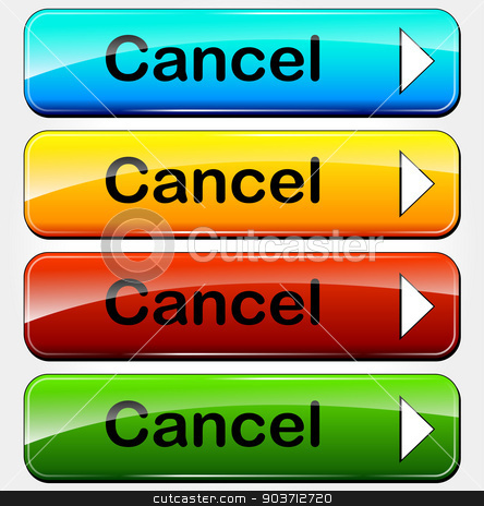 Vector cancel buttons stock vector clipart, Vector illustration of colorful set cancel web buttons by Nickylarson974