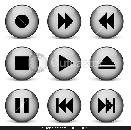 Vector video icons stock vector clipart, Vector illustration of video player icons on white background by Nickylarson974