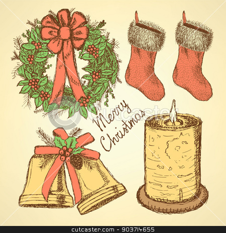 Sketch Christmas set in vintage style stock vector clipart, Sketch Christmas set in vintage style, vector by Lily