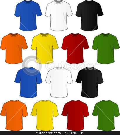 Vector t-shirts stock vector clipart, Vector set of colorful t-shirts on white background by Nickylarson974