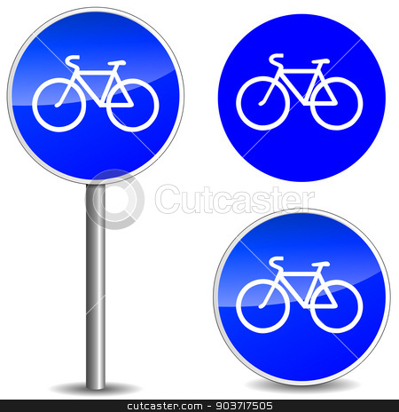 Vector bicycle blue signs stock vector clipart, vector illustration of bicycle blue sign on white background by Nickylarson974
