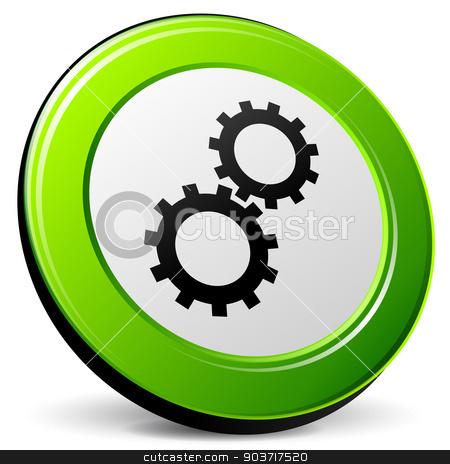 Vector gear green icon stock vector clipart, Vector illustration of 3d green gear icon on white background by Nickylarson974