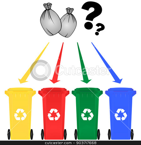 Selective sorting stock vector clipart, Vector illustration of selective sorting trash can by Nickylarson974