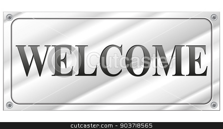 welcome signboard stock vector clipart, vector illustration of welcome signboard on white background by Nickylarson974