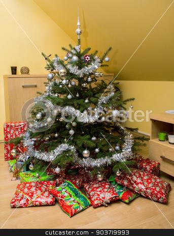Christmas Tree and Christmas gift boxes stock photo, decorated Christmas Tree and Christmas gift present boxes by Artush