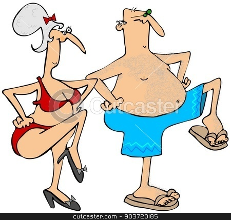 Grandparents exercising stock photo, This illustration depicts a senior man and woman exercising in their swim suits.  by Dennis Cox