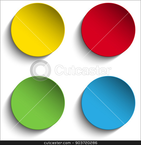 Set of Colorful Paper Circle Sticker Buttons stock vector clipart, Vector - Set of Colorful Paper Circle Sticker Buttons by Augusto Cabral Graphiste Rennes