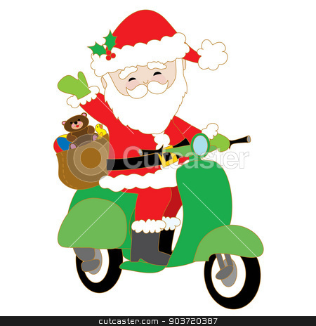 Santa on Scooter stock vector clipart, Santa Claus is riding a green scooter with a bag of toys on the back by Maria Bell