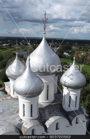 Church domes top view stock photo, Saint Sophia Cathedral in Vologda Top view from height of bird's flight by mrivserg