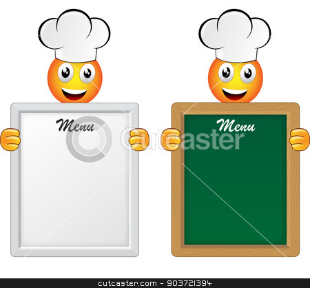 RVB de base stock vector clipart, panel menu with smiley happy cook by Nickylarson974