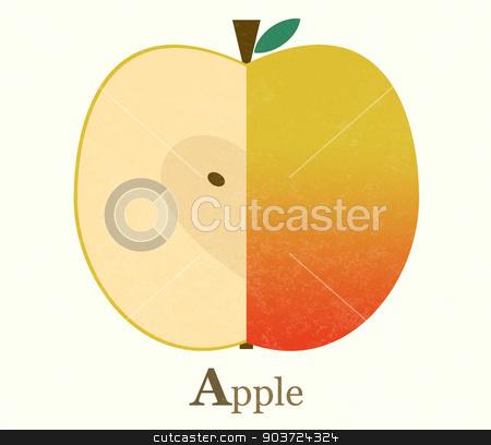 Apple raster illustration stock photo, Apple raster illustration. Vintage style. Simple style by Olga Varlamova