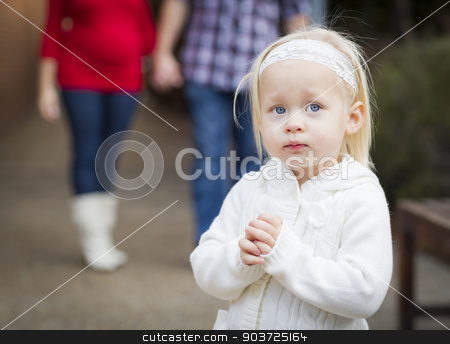 Adorable Little Girl with Her Mommy and Daddy Portrait stock photo, Adorable Little Girl with Her Mommy and Daddy Portrait Outside. by Andy Dean
