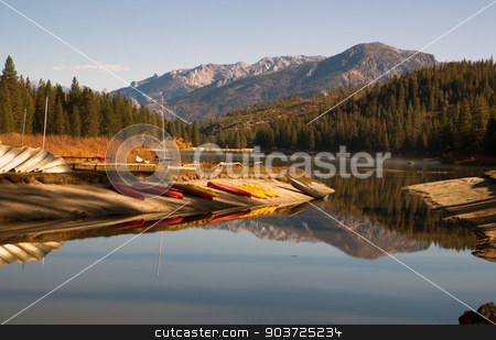 Boats Kayaks Ducks Wildlife Fisherman Hume Lake Kings Canyon stock photo, Wildlife and Fisherman Hunting for Food at Lake Hume in the Early Morning Hours by Christopher Boswell