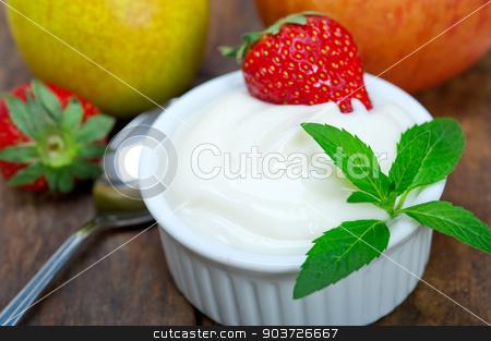 fruits and yogurt  stock photo, fresh fruits and whole milk yogurt on a rustic wood table by Francesco Perre
