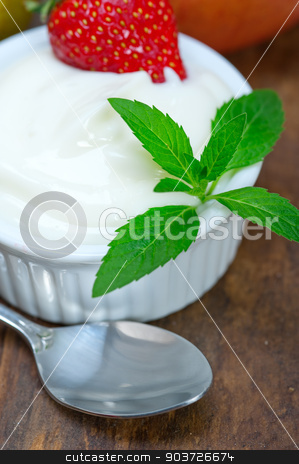 fruits and yogurt  stock photo, fresh fruits and whole milk yogurt on a rustic wood table by Francesco Perre