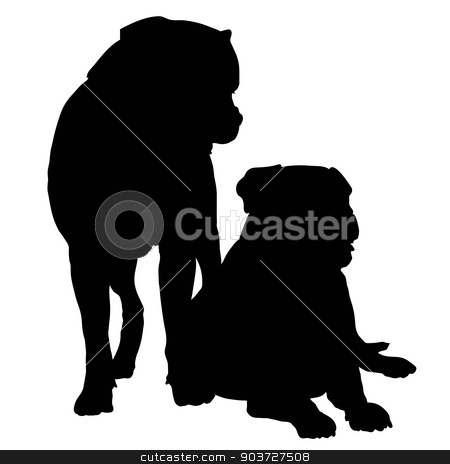 Mastif Pair stock vector clipart, Silhouette of a pair of large dogs such as a Rotweiller, Bull Mastif or Bulldog by Maria Bell
