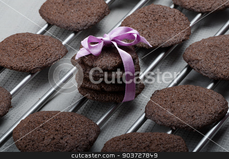 Dark chocolate biscuits stock photo, Dark chocolate biscuits, homemade, 80 percent chocolate by Peteer